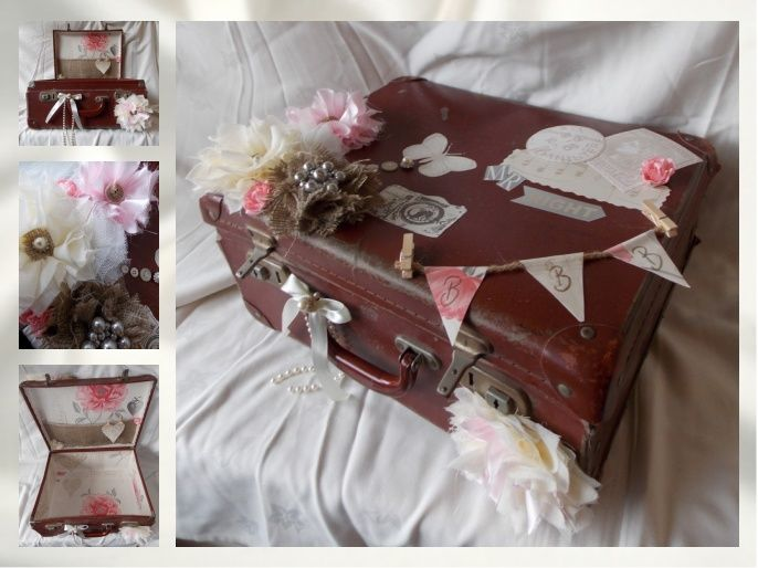 Upcylced tan vintage case using left over wallpaper, handmade fabric flowers, buttons and lace. ideal for displaying in the home, wih a shabby chic decor, or can be used at weddings for cards or seating plans. simple & cheap to make...