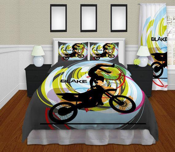 Motocross Duvet Cover Kids Bedding Kids Rooms Motocross Bedding