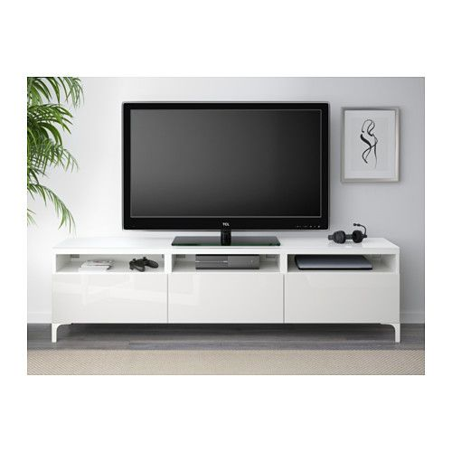 BESTÅ Banc TV avec tiroirs - blanc/Selsviken brillant/blanc, glissière tiroir, fermeture silence - IKEA