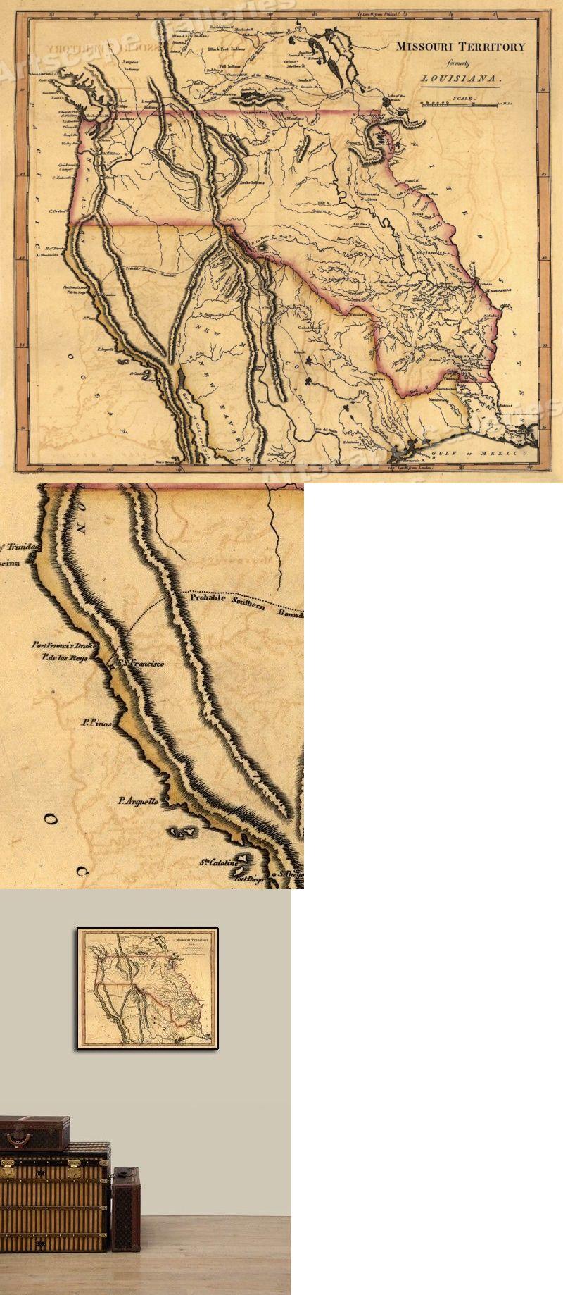 Map Of America Ebay.North America Maps 179654 1814 Missouri Territory Historic Vintage