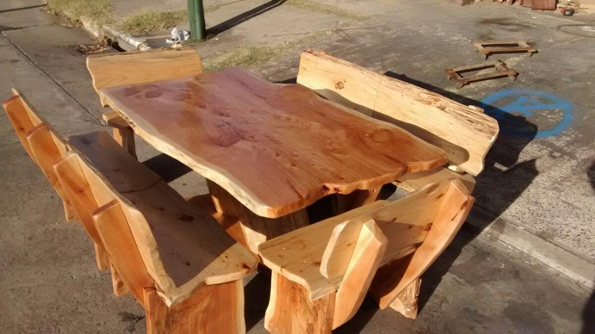Mesas rusticas de cipres estilo tronco cipreses troncos - Mesas de troncos de madera ...