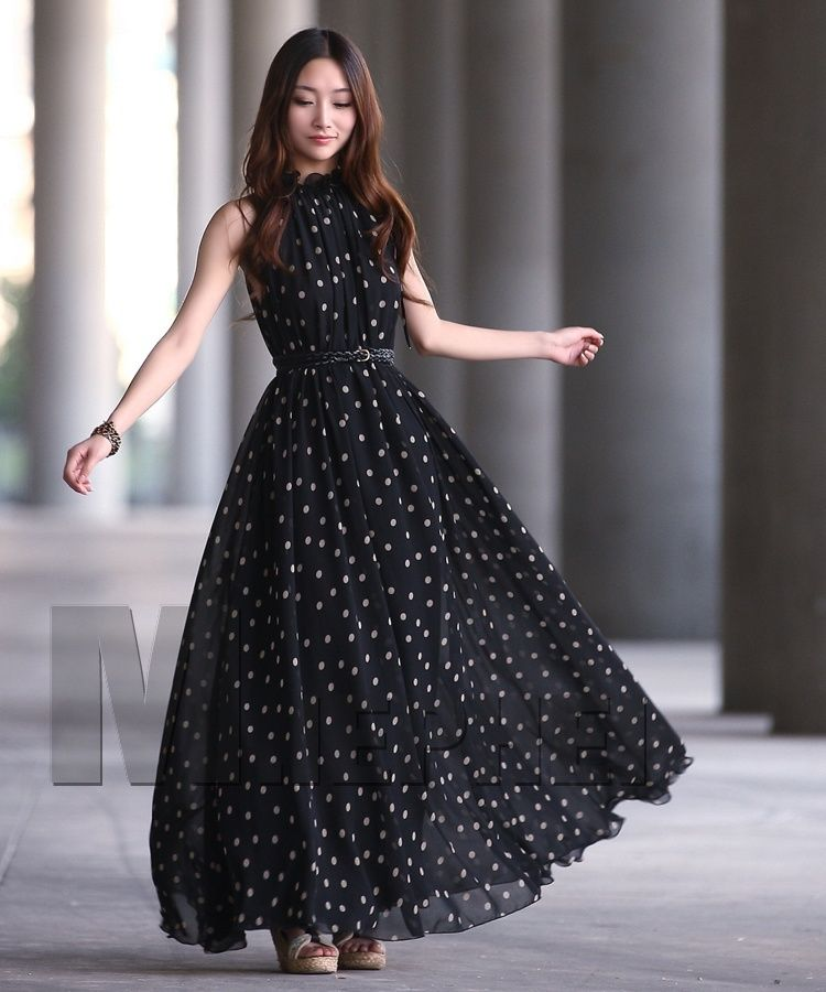 Retail Fashion Women's Polka Dots Maxi Long Casual Summer Beach Party Chiffon  Dress,Big Size