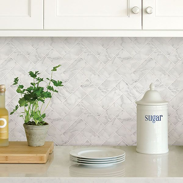 Get 25 Off Our No Grout Carrara Marble Herringbone Peel And Stick