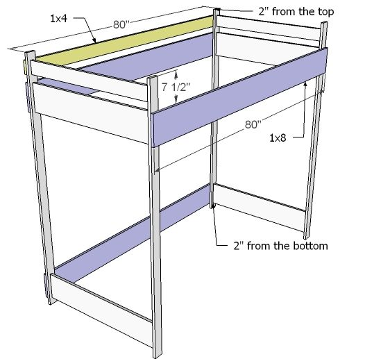 200 full sized bunk bed ana white easy diy projects for Bunk bed woodworking plans