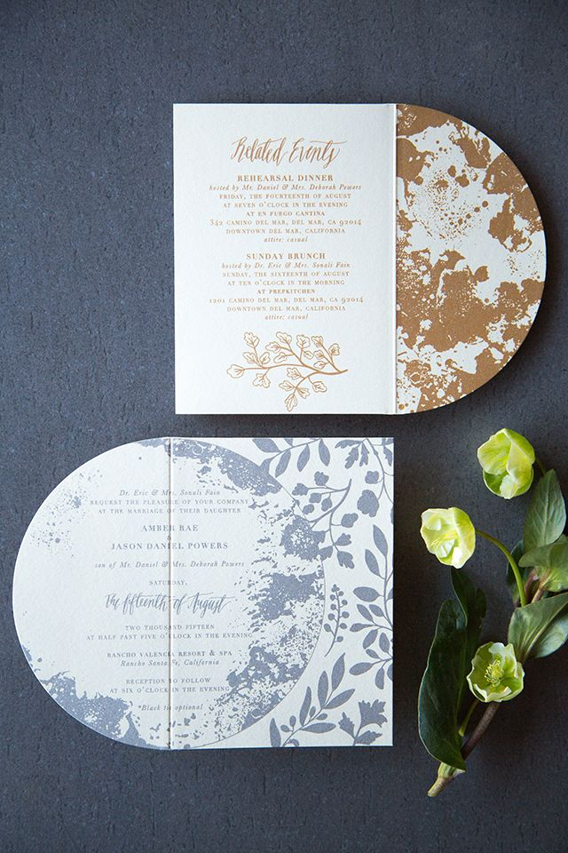 Shimmery Metallic Moon and Stars Wedding Invitations | Star ...