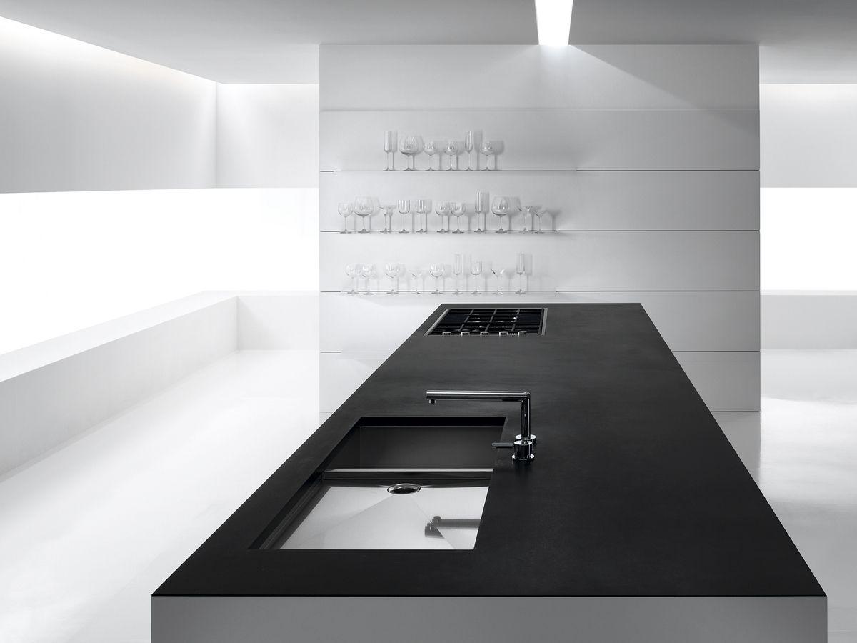 Matt Black Granite Countertop On Otherwise White Island Goes Well Will Oak Sawed Texture Tall Cupboards Verve Kitchen
