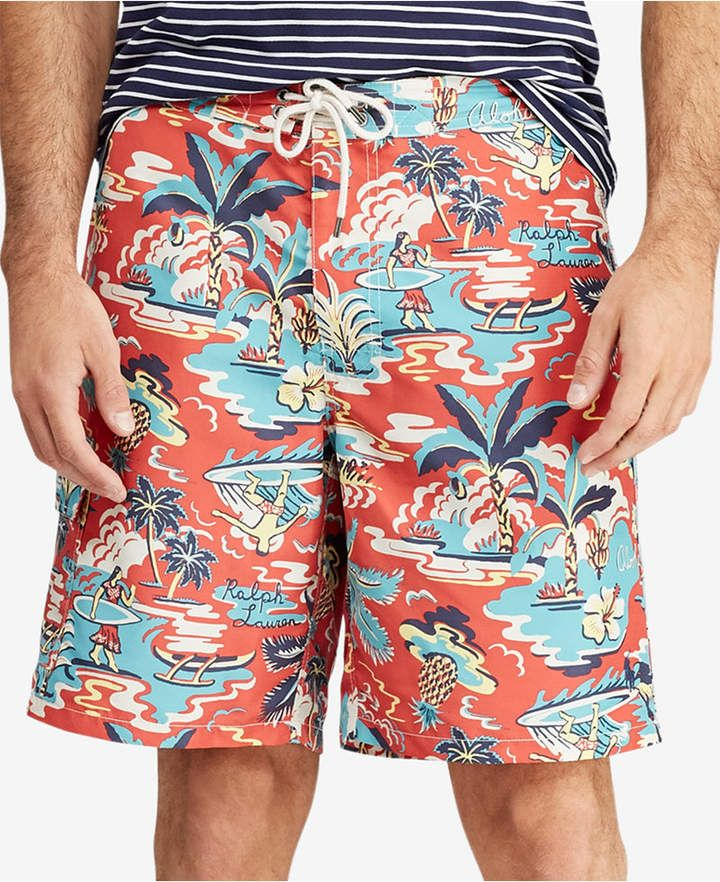 296e261084 Polo Ralph Lauren Men's Big & Tall Kailua Tropical Swim Trunks Big &  Tall,
