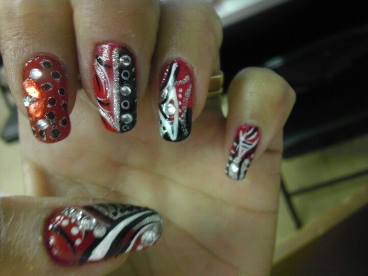 Wild red black & silver gemmed out nails