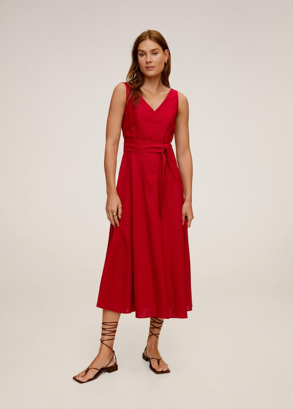 Linen-blend midi dress - Women  Mango USA  Midi dress, Womens