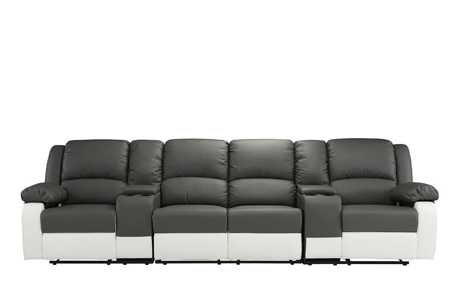 High Quality 4 Seat Large Classic Recliner Sofa With Cup Holders Home Theater Recliner  Couch Grey / White