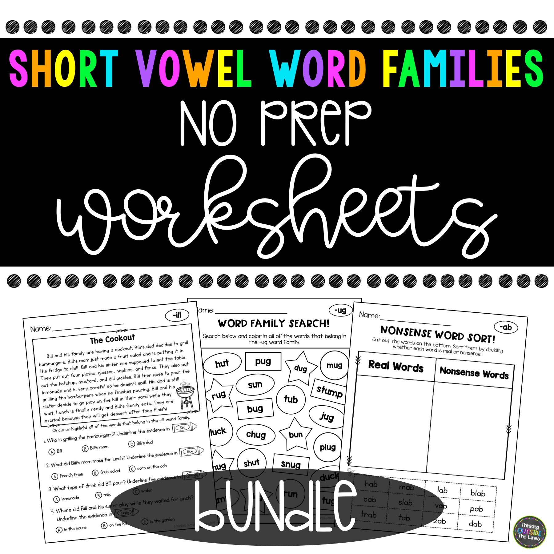 Short Vowel Word Family No Prep Worksheet Bundle