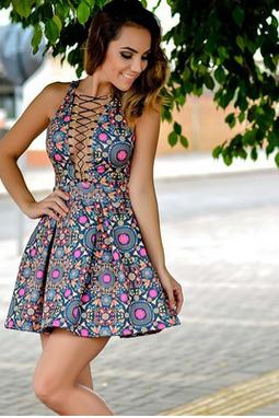 Deep V short sleeveless sexy dress fashion MS