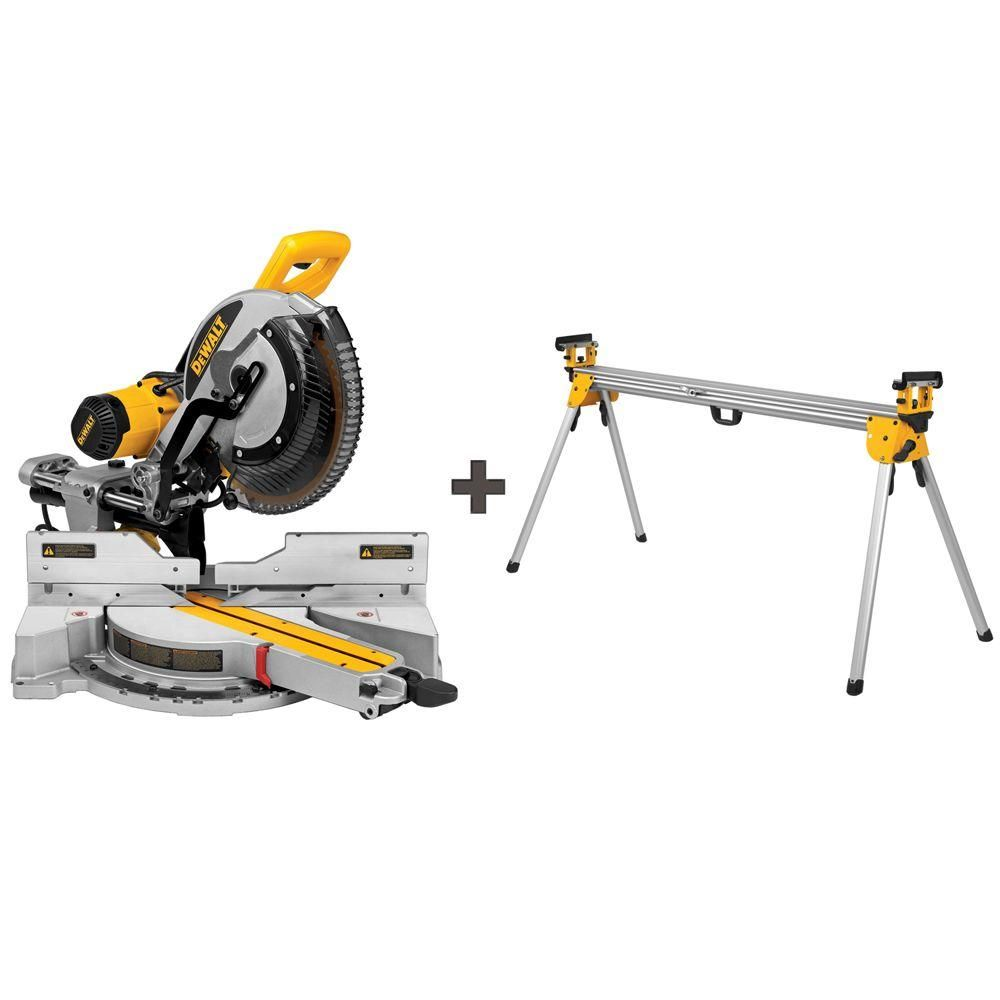 Dewalt 15 Amp 12 In Sliding Miter Saw With Free Heavy Duty Miter Saw Stand Sliding Mitre Saw Mitre Saw Stand Sliding Compound Miter Saw