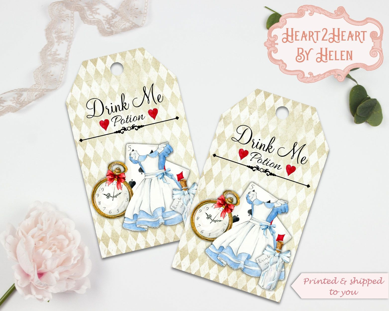 10 Alice in Wonderland Drink Me Gift Tags, Toppers, Favors, Wedding ...