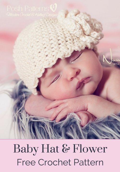 Baby Hat And Flower Free Crochet Pattern Baby Hats Free Crochet