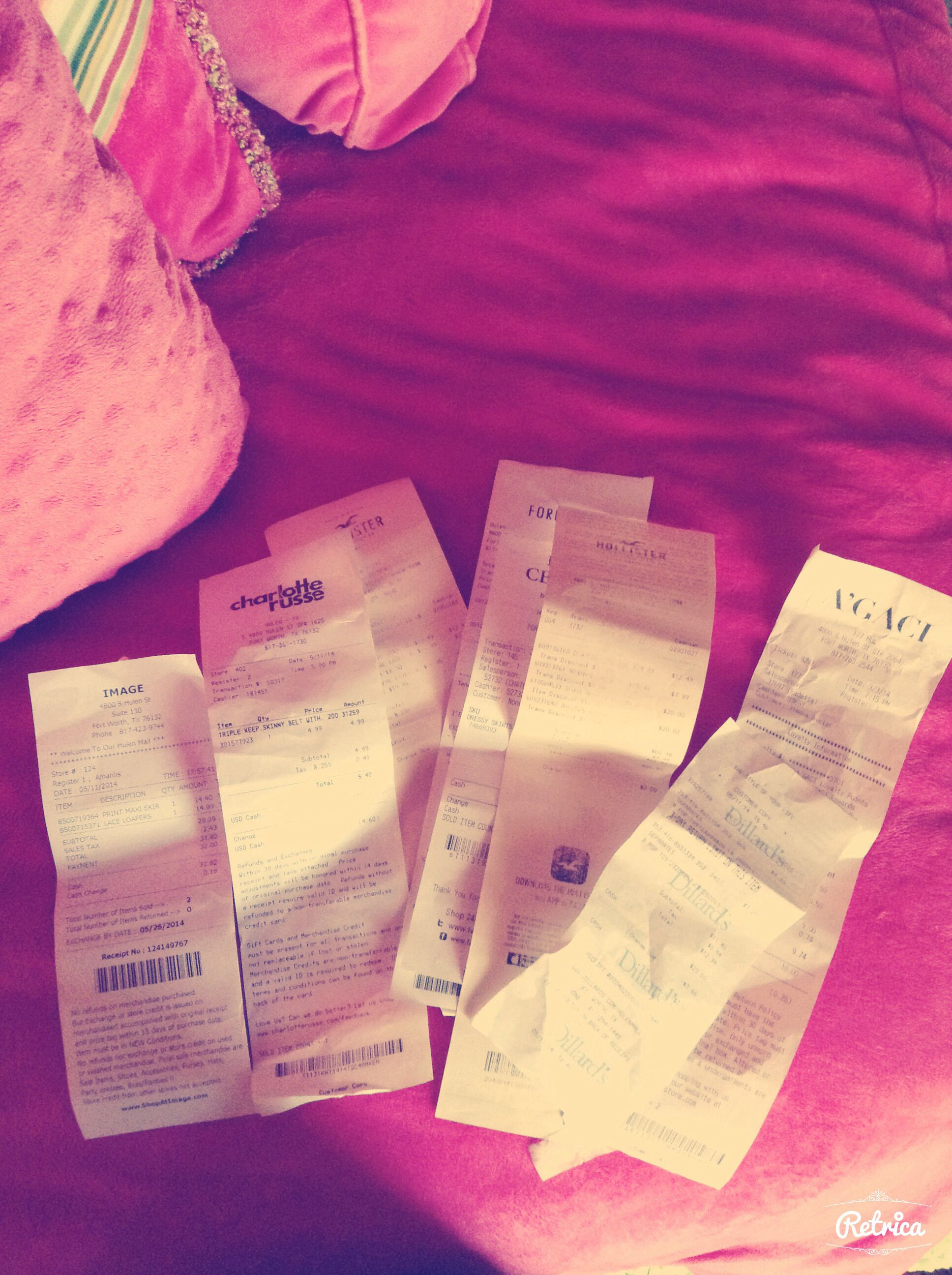 So i find a bunch of receipts from my last shopping spree ^_^ aha