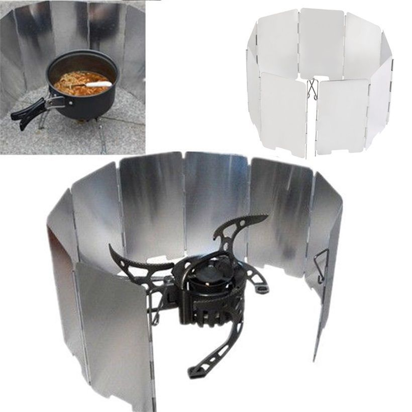 9 Plates Mini Outdoor Camping Foldable Burner Windshield Cooking Wind Shield