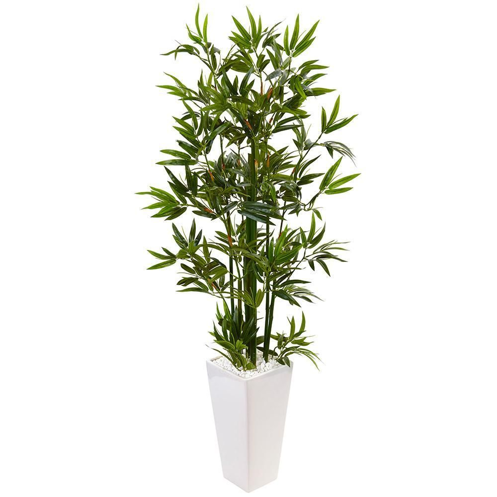 Artificial tree foot bamboo tree with white tower planter