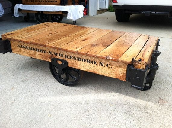 Lineberry Industrial Factory Railroad Cart Coffee Table Vintage Antique  Restored On Etsy,