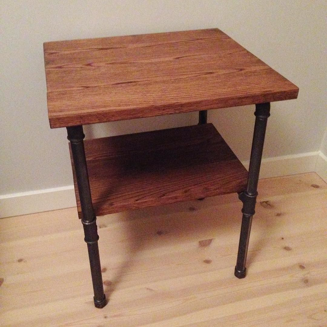 Night Stand Oak And Pipe Nightstand Pipetable Pipefurnitures Pipefurniture