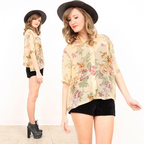Vintage 80s L XL Cream Sheer Floral Print Beige Crop Top Oversized Shirt Blouse | eBay