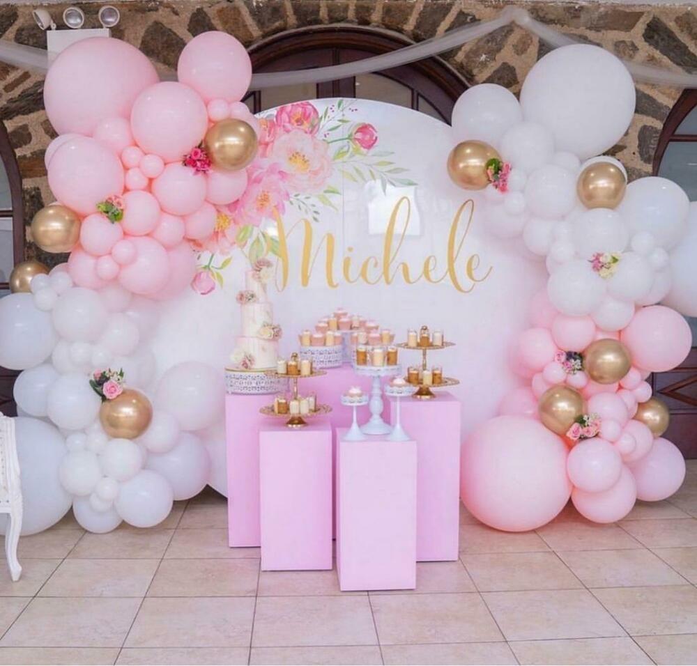 Pink White Chrome Gold Balloon Garland Kit 3m Party Decorations Birthdays Qualatex Baby Girl Birthday Theme Birthday Party Decorations Birthday Decorations