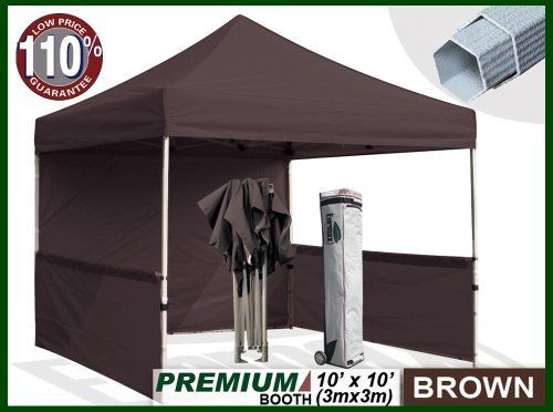 Eurmax Premium Ez Up Canopy Booth Bonus Awning And 4weight Bag 10x10 Feet Brown By Eurmax 449 95 Wheeled Bag With 4 7 Whe Canopy Canopy Frame Weight Bags