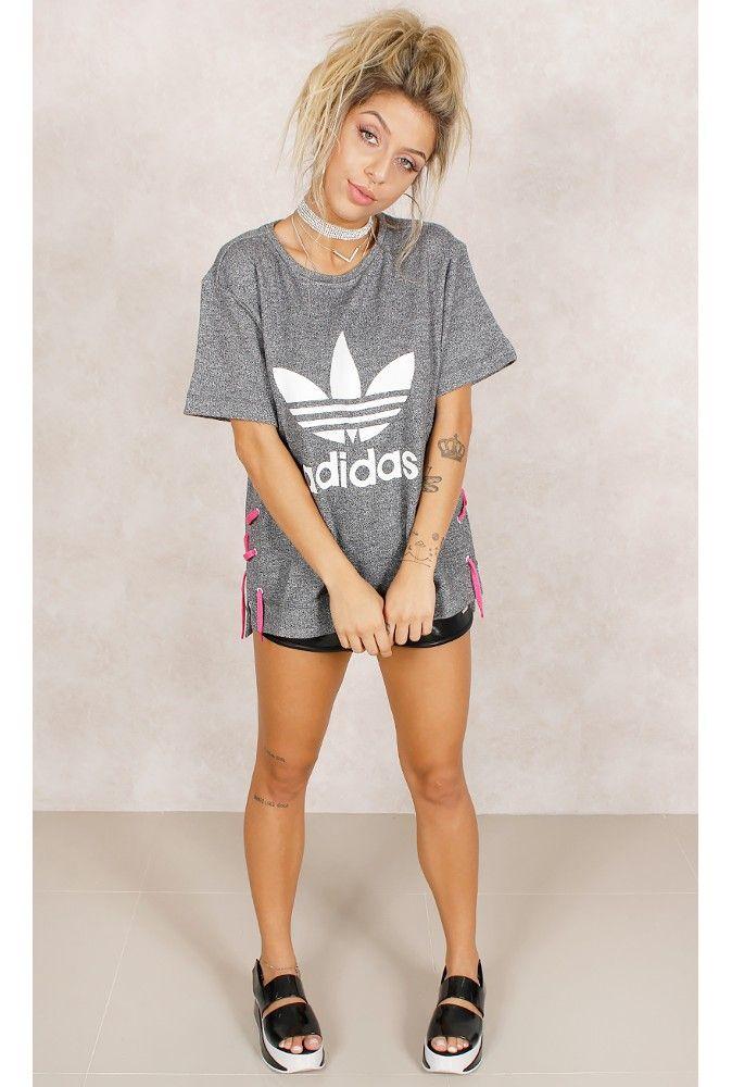 8703b276842 Camiseta Adidas Drawcord Mescla Fashion Closet - fashioncloset Adidas  Feminino