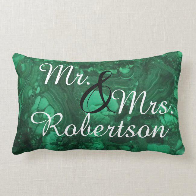 Mr and Mrs Newlywed Bright Green Gemstone Lumbar Pillow   Zazzle.com
