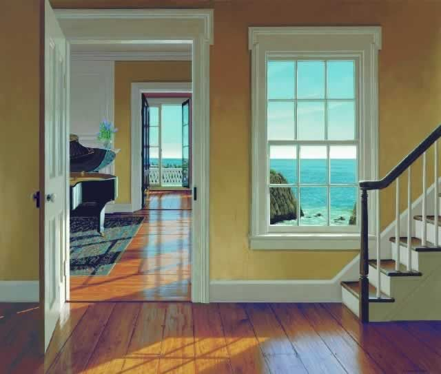 The Music Room by Edward Gordon - Ocean shoreline seen across a sunlit hardwood floor with piano Vermeer painting and open French doors & Edward Gordon \