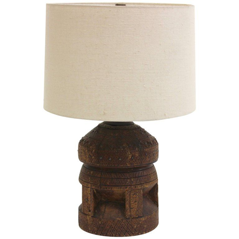 Vintage African Carved Solid Wood Table Lamp From A Unique Collection Of Antique And Modern