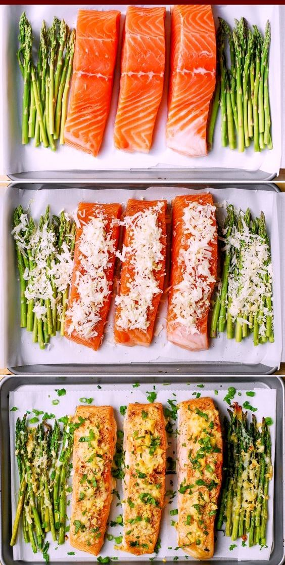 Garlic Parmesan Crusted Salmon and Asparagus #fishmeal