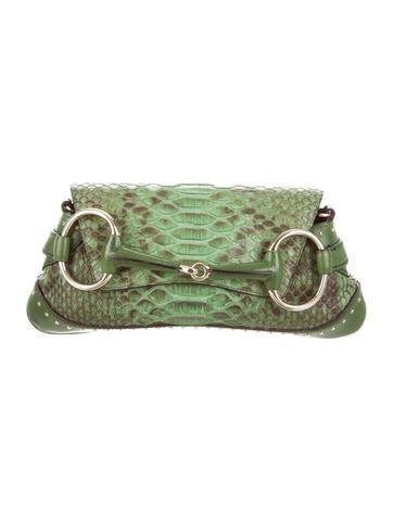 429d06e4cfca85 Python Horsebit Clutch | Purses | Green handbag, Gucci, Python