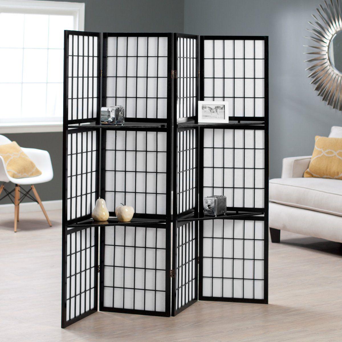 Black Shoji 4 Panel Screen Room Divider with Display Shelves 149