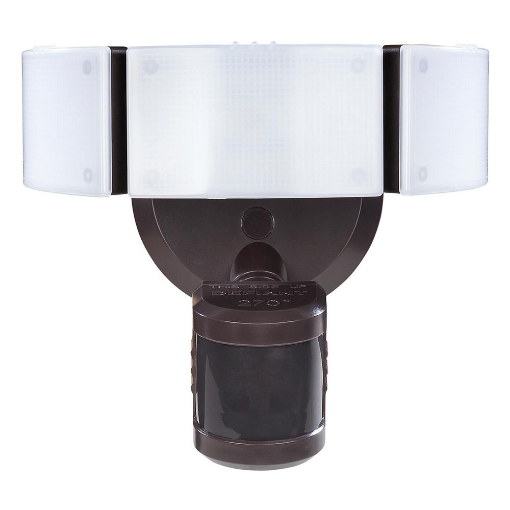 Defiant 270 Degree Bronze Motion Outdoor Integrated LED Security ...