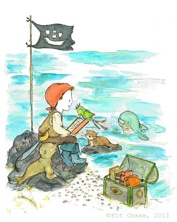 ARRGH! A seafaring book club for your little matey!  This portrait print is made using Claria inks and a wonderful Premium Epson matte paper