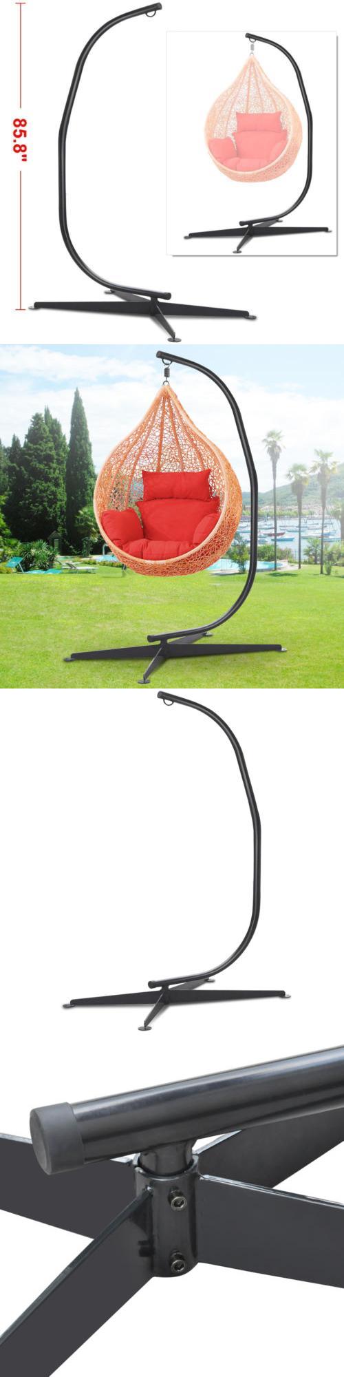 Hammocks black solid steel c frame chair hammock stand
