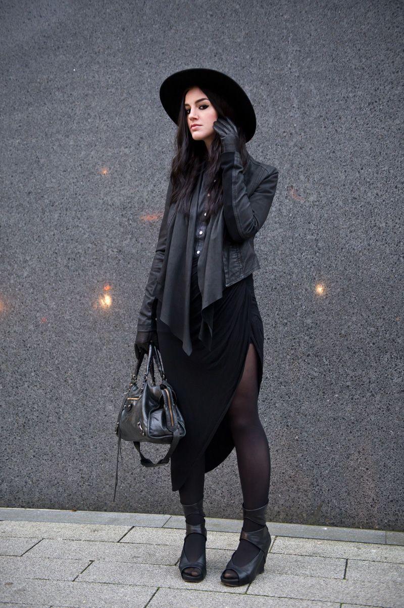 Stephanie of FAIIINT wearing Catarzi fedora, Barneys Originals draped leather jacket, Chiara fashion denim shirt, River Isla