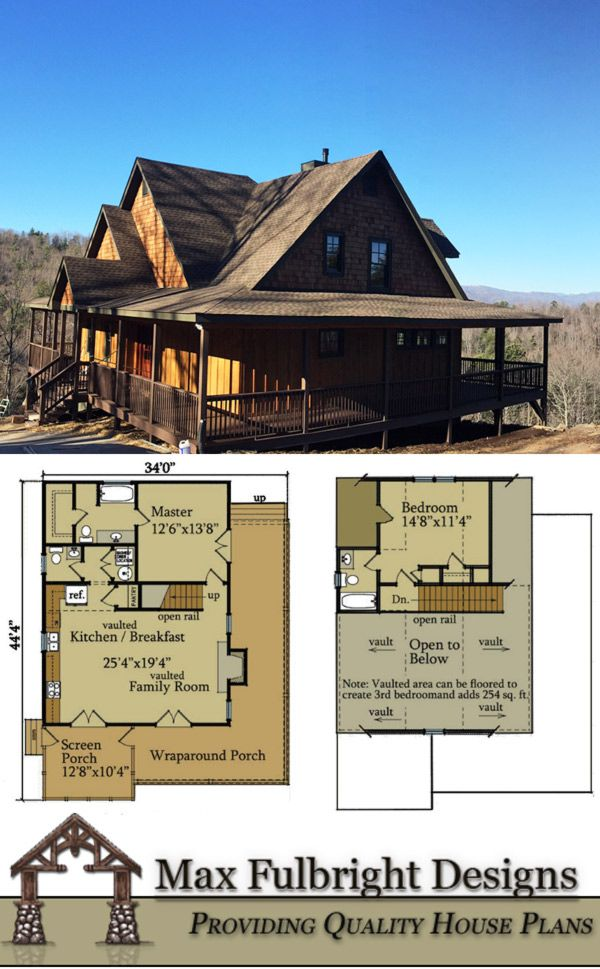 2 Bedroom Cabin Plan With Covered Porch Little River Cabin River Cabin Metal Building House Plans Mountain Ranch House Plans