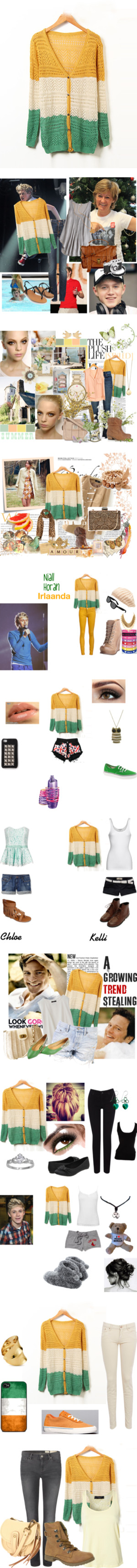 """""""Yellow Hollow V-neck Knit Cardigan"""" by udobuy on Polyvore"""