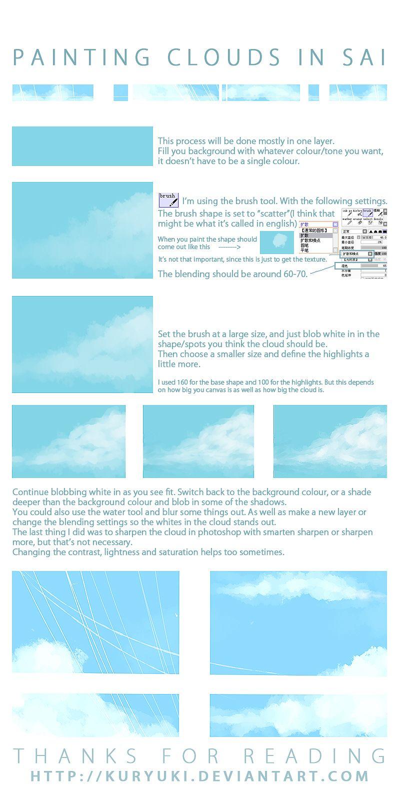 cloud painting tutorial in sai by kuryuki deviantart com on