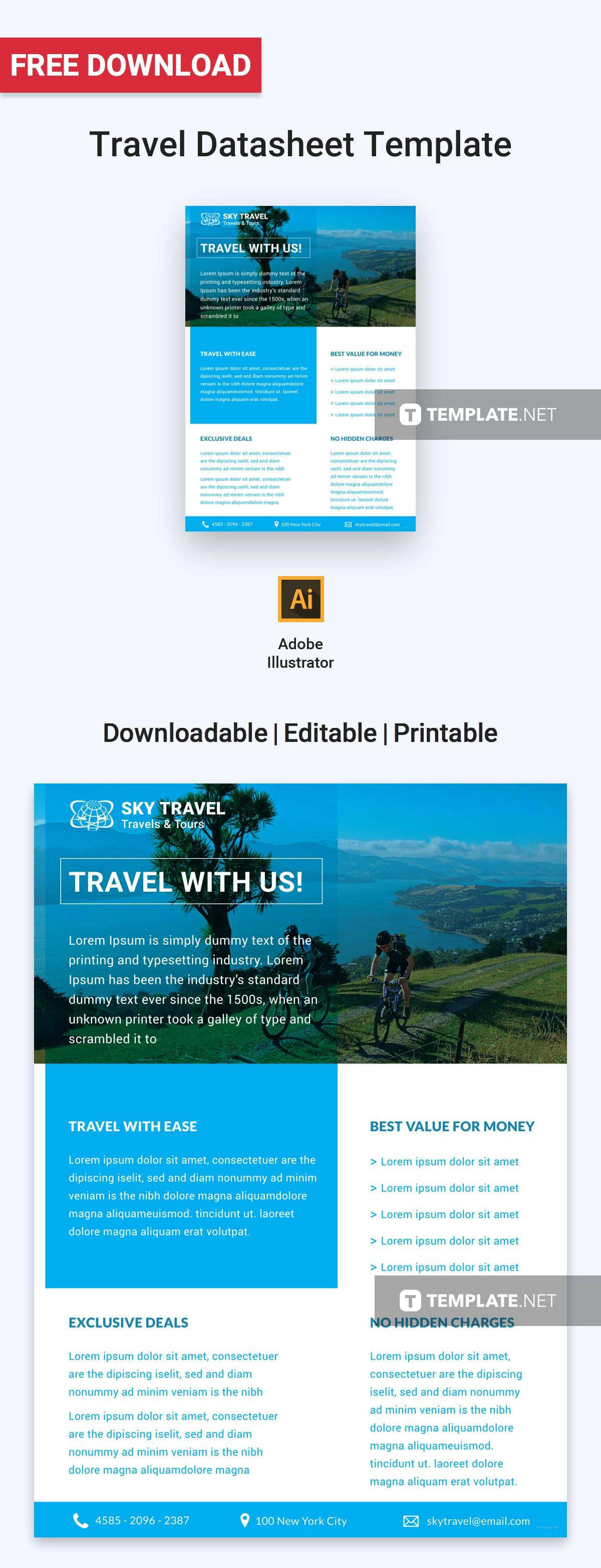 FREE Travel Datasheet Template - PDF | Word (DOC) | Apple ...