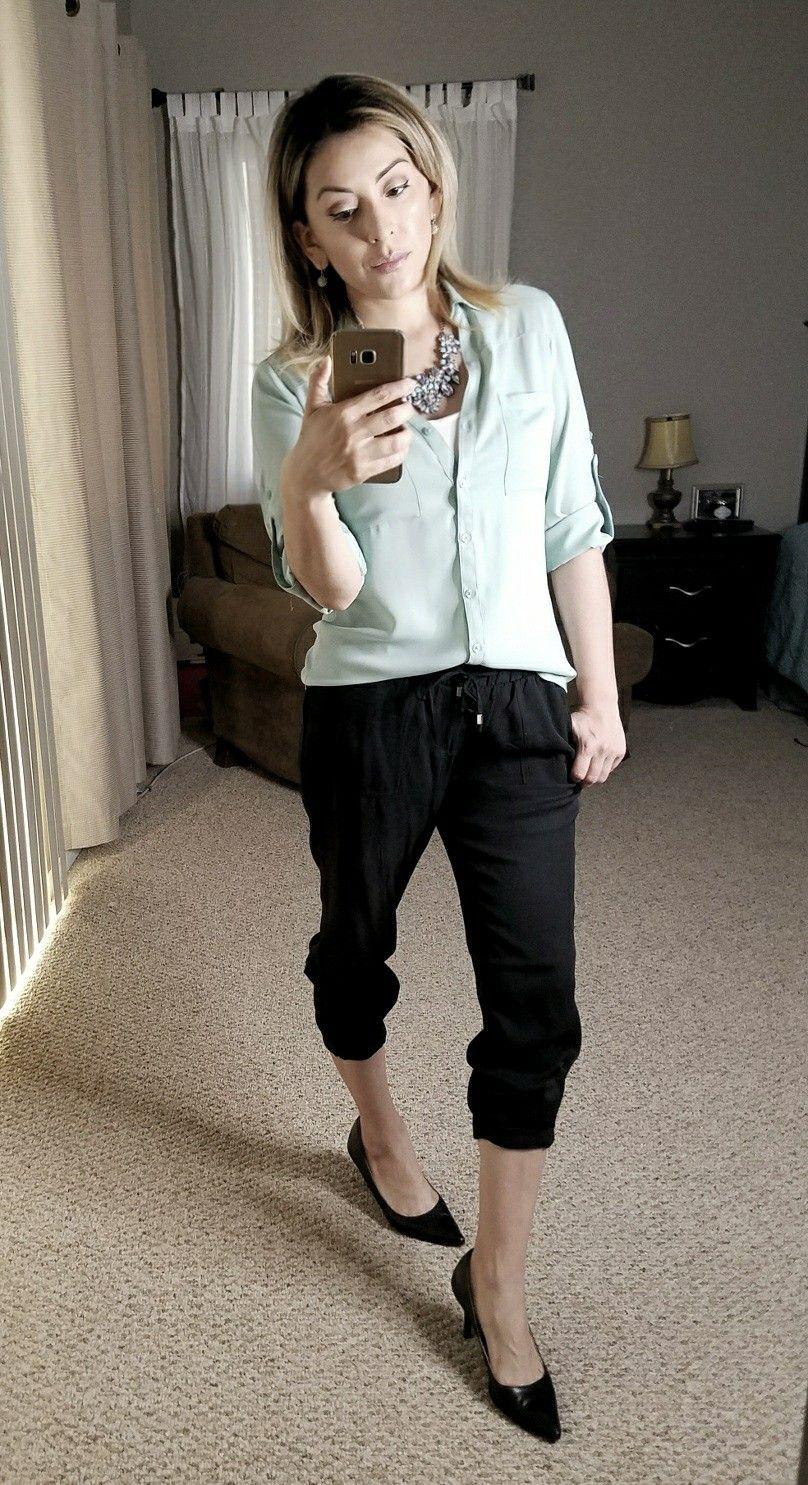 Pin By Chels Bits Of Beauty On Black Pants Outfits Black Pants Outfit Pants Outfit Mint Green Shirts