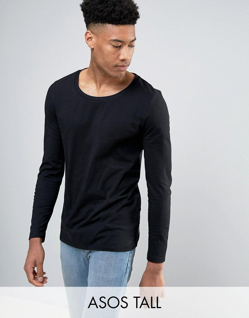 85e117149d9 TALL Long Sleeve T-Shirt With Scoop Neck In Black | Products | Long ...