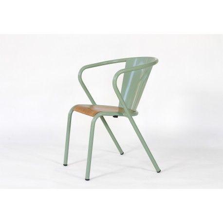 Chaise de bistrot portugais en métal et bois Gonçalo au style
