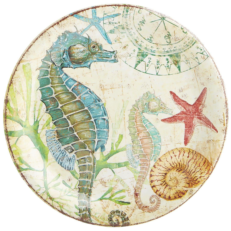 Coastal Condo Decorating Ideas: Seaside Spike The Seahorse Melamine Salad Plate