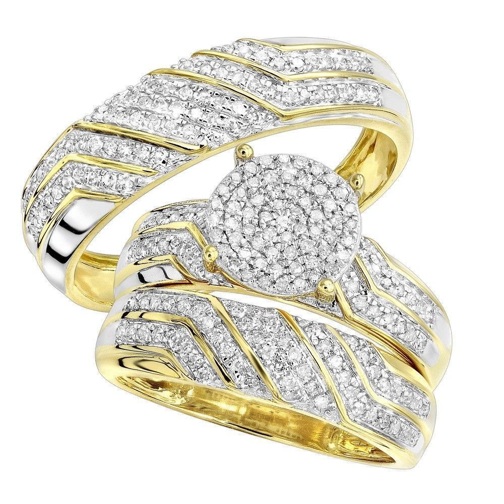 10k yellow gold fn bride groom diamond engagement bridal