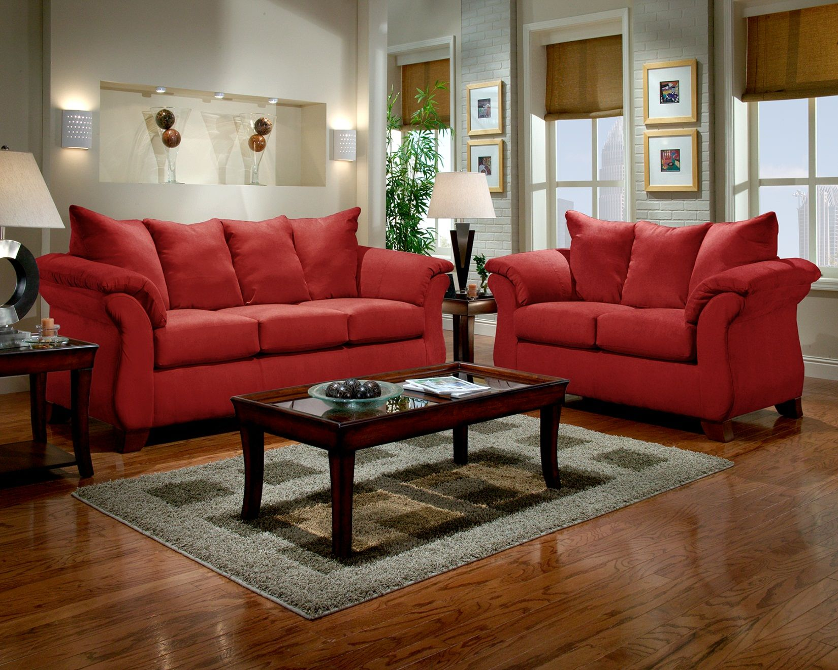 Brilliant Sensations Red Microfiber Pillow Back Sofa And Loveseat Set Lamtechconsult Wood Chair Design Ideas Lamtechconsultcom