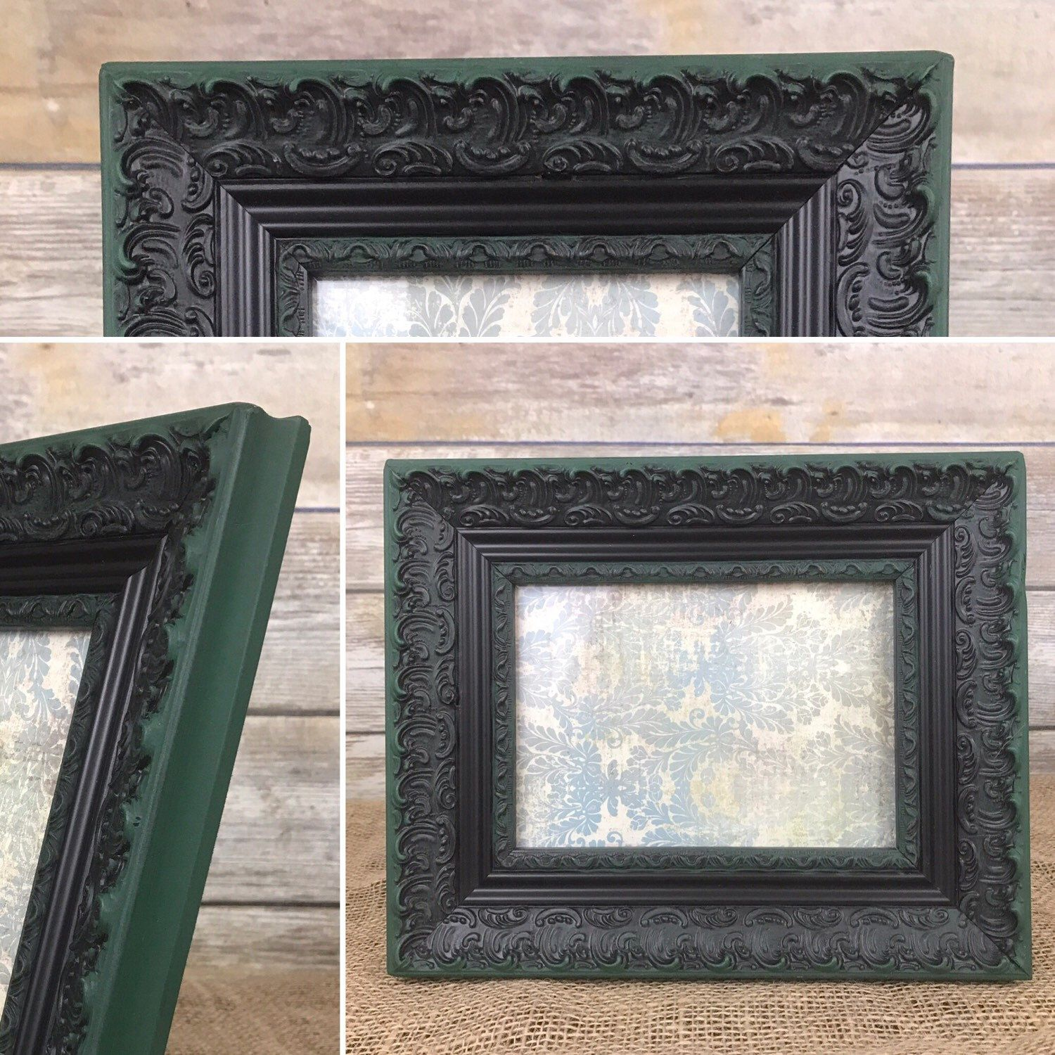 Beautiful dark green and black large baroque frame, 4 x 6 picture ...