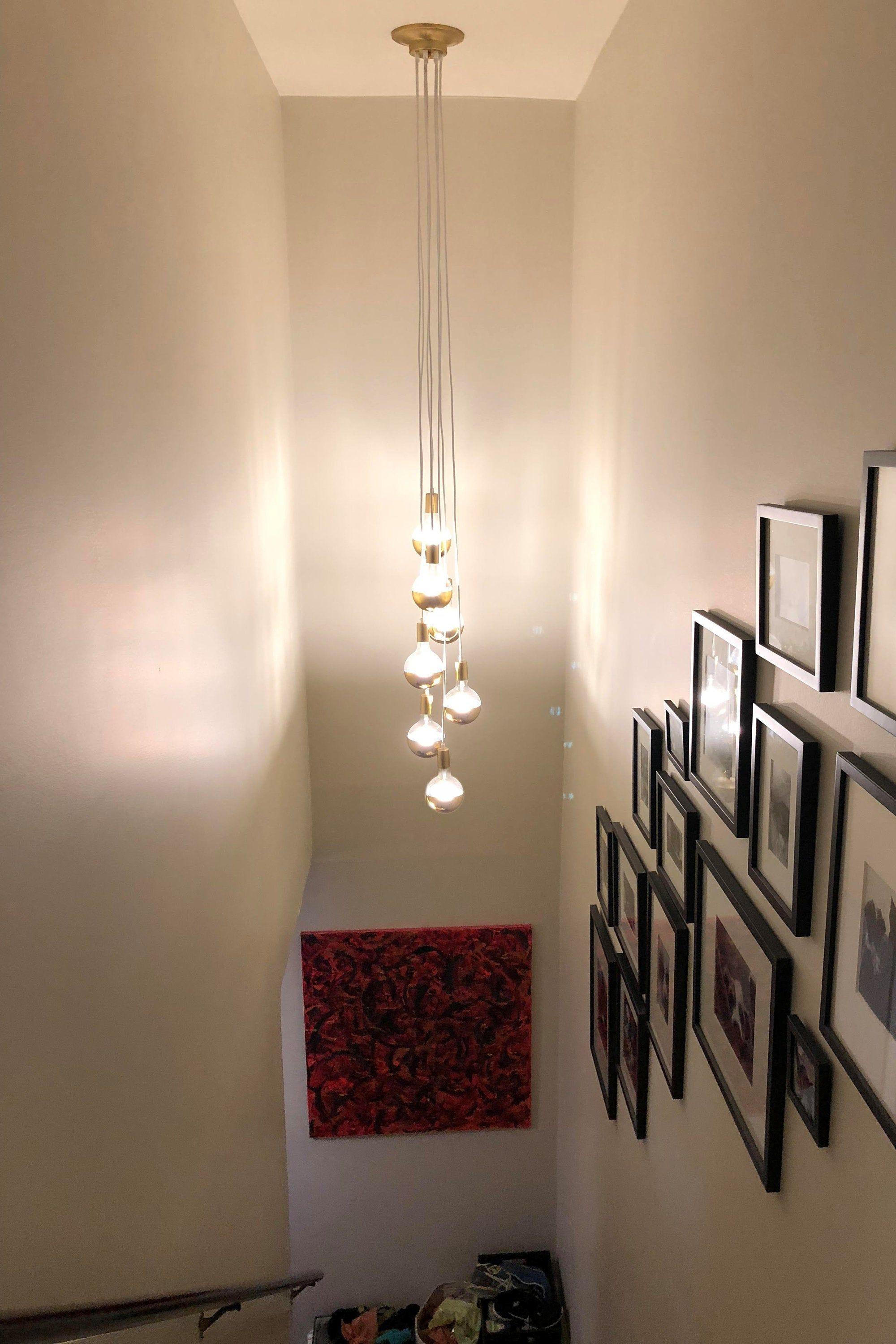Stairway Chandelier Long Cascading Foyer Lighting 7 Cluster Hanging Pendant Lighting Modern Chandelier Cloth Cords Copper Dipped Led Globes With Images Stairway Lighting Foyer Pendant Lighting Hallway Lighting